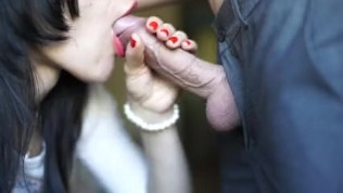 Real Blowjob For My Friend, He Cum In My Mouth I Swallow) Red Lips & Nails)